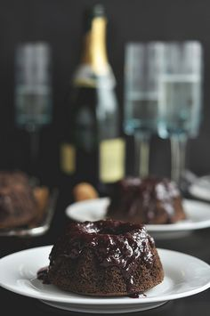 Dark Chocolate Cherry Champagne Cakes | The Candid Appetite