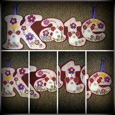 Kate Name Banner made out of Pink and Maroon Felt and decorated with White Mice, flowers, buttons and butterflies  https://www.facebook.com/AHeartlyCraft