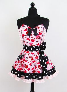 Pin Up Pink Cupcakes Double Skirt Apron. $62.95, via Etsy.