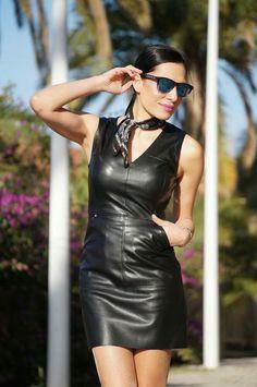 Black leather halter dress