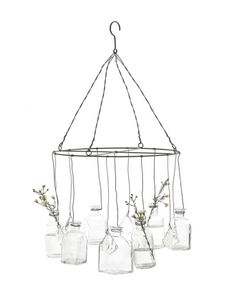 Wire Hanging Glass Vase Chandelier - so cool w/ the mason jar and candles idea if we do the outside tent thing :)
