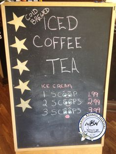 Iced coffee, tea, ice cream Coffee Art, Iced Coffee, Chalkboard Signs, Cold Brew, Art Quotes, Brewing, Ice Cream, Tea, Creative