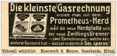 Original-Werbung/ Anzeige 1908 - PROMETHEUS HERD / EISENWERK MEURER COSSENBAUDE ELBTAL-  ca. 90 x 35 mm