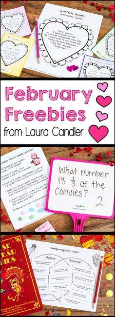Free February lessons and activities for upper elementary students from Laura Candler! Includes engaging math and literacy lessons for Valentine's Day, International Friendship Month, Presidents Day, Black History Month, and the Chinese New Year.