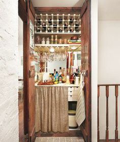 Transform a closet into a fully-stocked bar.