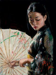 Michiko with a white umbrella (??)  Fabian Perez  Argentinian (1967 - )