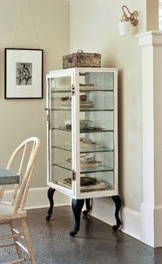 great vintage medical cabinet from everythingleb.blogspot.com - would make a great curio for botanical stuff like seeds and such.