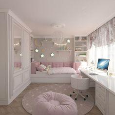 15 Cute Bedroom Ideas for Girls - Cool Bedroom Design Pink Bedroom Decor, Room Design Bedroom, Girl Bedroom Designs, Home Room Design, Kids Room Design, Shabby Bedroom, Shabby Cottage, Cozy Bedroom, White Bedroom