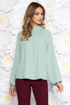 StarShinerS lightgreen elegant flared women`s blouse from veil fabric with inside lining long sleeved, easy cut, long sleeves, voile fabric, thin fabric, back buttons fastening, inside lining