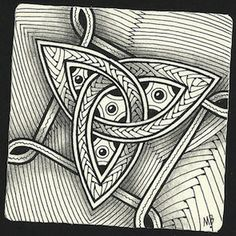 Enthusiastic Artist: Celtic triquetra as a string ~ by Certified Zentangle Teacher Margaret Bremner