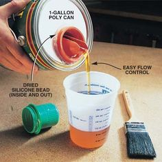 DIY Tip of the Day! Here's a tidy way to pour exactly the amount of finish or paint you need. Pry the lid off a gallon can, wipe it clean and clamp it face down to a piece of plywood. Cut a hole with a 2-3/4-in. hole saw. Next, pry the spout off a laundry detergent bottle and insert it in the hole in the lid and seal it in place on both sides with silicone or hot glue. Tap the top back on the can and use as needed!