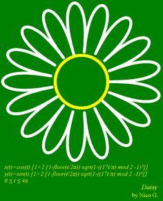 Daisy parametric curve: x(t)=cos(t)*(1+2*(1-floor(t/(2*pi)))*sqrt(1-((17*t/pi) mod 2 -1)^2)), y(t)=sin(t)*(1+2*(1-floor(t/(2*pi)))*sqrt(1-((17*t/pi) mod 2 -1)^2)), t∈[0; 4π], by Nico. G