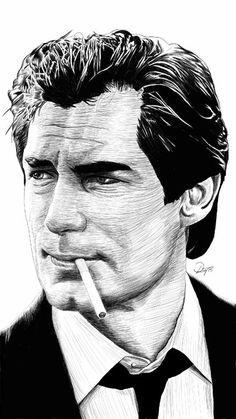 Black and white Digital pen and ink sketch of James Bond 007 - Timothy Dalton.