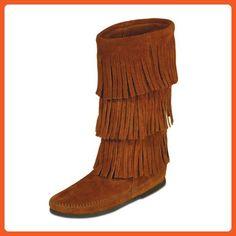 Minnetonka Women's Calf Hi 3-Layer Fringe Boot (6, Brown) - Boots for women (*Amazon Partner-Link)