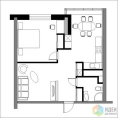 Bedroom Apartment Floor Plan Spaces 21 Ideas For 2019 Studio Apartment Plan, Small Apartment Plans, Apartment Layout, Small Apartments, Bedroom Apartment, Bungalow House Design, Modern House Design, Small House Floor Plans, Hotel Room Design