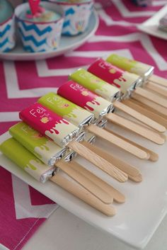 Candy popsicles at a Teen Beach Movie birthday party! See more party planning ideas at CatchMyParty.com!