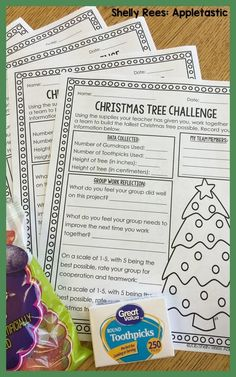 Christmas Tree Build: A Mini S. Challenge is a great way to plan some fun problem-solving and group work into that last hectic week before Christmas! We will be doing this challenge later thi… Christmas Worksheets, Christmas Math, Christmas Tree, 2nd Grade Christmas Crafts, Christmas Ideas, Christmas Kitchen, Christmas Activities, Stem Activities, Classroom Activities