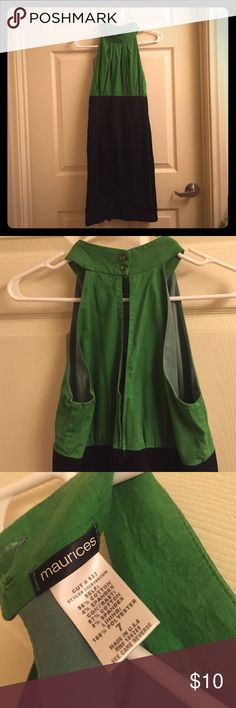 Dress High neck green and black dress. Buttons at the neck with a slit in the back. Maurices Dresses Midi
