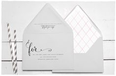 Trellis Wedding Invitation guest address printing | A romantic and classic invite featuring a diamond inspired pattern | Smitten On Paper
