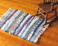 1:12 Mini Rustic Cottage Miniature Dollhouse Rag Rug, Farmhouse Country Cabin Model Hobby Collector Home Decor Artisan Handwoven Textile