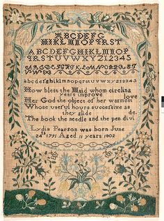 Embroidered silk on linen sampler~Amazing that these intricate samplers were done by such young girls