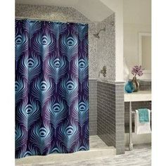 Peacock Plume Microfiber Shower Curtain