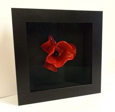 Ceramic Poppy deep box frame with art glass (minimise reflections)