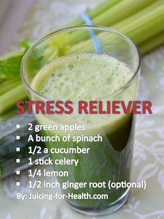 """Suggested Juice For Relieving Stress: """"Prolonged negative emotions are detrimental to health. During this stressful time, this juice combo may help calm your nerves, improve your mood and sleep quality."""" 2 green apples A bunch of spinach 1/2 a cucumber 1 stick celery 1/4 lemon 1/2 inch ginger root (optional)"""
