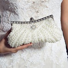 Satin with Pearl and Diamond Wedding /Special Occasion Evening Handbags/Clutchs - USD $ 31.49