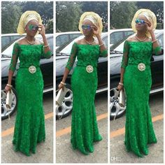Lace Arabic Emerald Green Prom Dresses Long Sleeves 2016 African Fashion Off Shoulder Mermaid Beaded Nigerian Styles Bellanaija Evening Gown