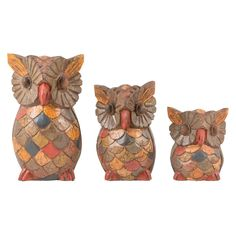 Painted Carved Owls Set