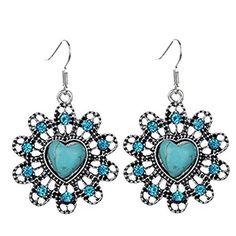 Susenstone Woman Vintage Peach Heart flower Turquoise Earrings A *** Learn more by visiting the image link.-It is an affiliate link to Amazon. #WeddingEarrings