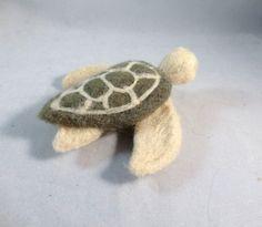 Needle Felted Sea Turtle Turtle Art Needle Felted by FlomopStudio
