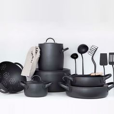 Designed by Enzo Mari for Zani & Zani, the Cookware Set is available in black (featuring a nonstick coating) or brushed stainless. The ensemble includes two stock pots, three casserole pans, two low pots, and four covers; €2,099.21 ($2,426.46) from Dep Design Store (the pieces are also sold individually).
