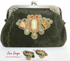 Green natural lether purse and earrings with semiprecious stones and soutache embroidery