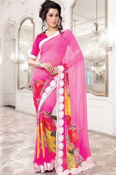 Georgette Pink Flower Printed Saree