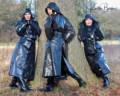 Rubber Raincoats, Long Leather Coat, Dancing In The Rain, Black Rubber, Goth, Winter Jackets, Instagram, Fashion, Gothic