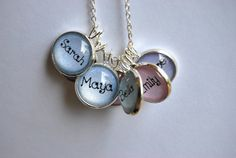 Name Necklace a Personalised gift for Kids, Cute Glass pendant and a Stone Charm, beautifully gift wrapped, kids jewellery