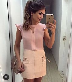 Sexy Casual Skirt And Blouse This Fall 13 Blouse Styles, Blouse Designs, Office Outfits, Casual Outfits, Formal Tops, Corsage, Casual Looks, Blouses For Women, Dress Skirt