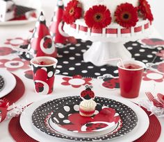You'll just love our brand new Lady Bug Fancy Baby Shower party supplies.  They feature a darling little lady bug character on an expansive range of decorations.  A cute polka-dot pattern is consistent throughout the tableware, banners, favor bags, cupcake wrappers, and more!Ladybug Fancy offers every decoration you could possibly want to round out your baby shower decor!  Of course, the color pallet is pure ladybug - red, black, and white!  And it wouldn't be a lady bug theme without polka d...