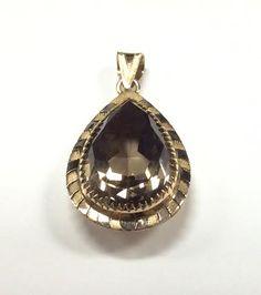 10k gold smokey quart pendant. #williamsjewellerstoronto