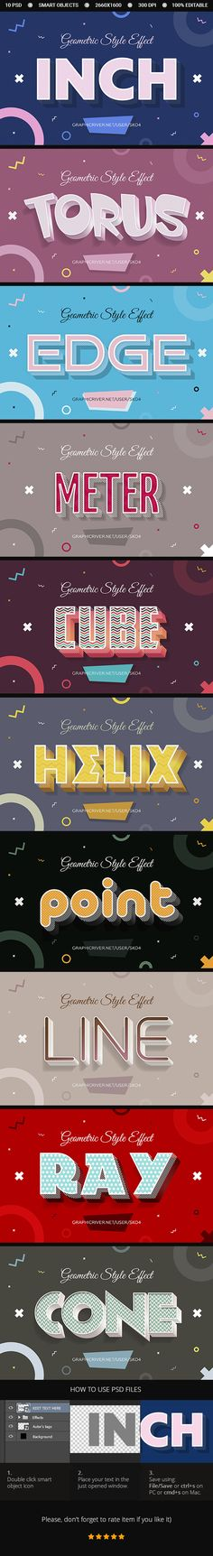 10 Geometric Style Text Effects - PSD - #Text #Effects #Actions
