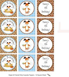 Printable Personalized Kipper and Friends Stickers or Gift Tags. $8.00, via Etsy.