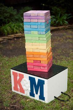 DIY Giant Jenga, wedding, color blocks, outdoor games