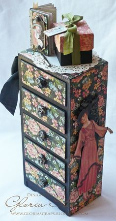 Wow! Look at this A Ladies' Diary mini altered drawer set with a corresponding tiny journal and gift box by @Gloria Stengel. Click to see all the details and the lining of the drawers. Using beautiful May Arts ribbon! Join our blog hop this week! #graphic45 #mayarts
