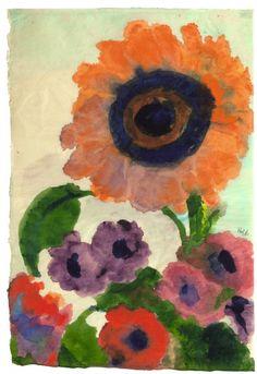 EMIL NOLDE Sunflower and Anemones (c.1952-54)