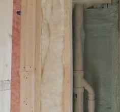 Both foam and batt insulation in bathroom Plum Island remodeling project