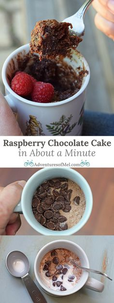 Craving a simple and easy dessert that will satisfy your sweet tooth but only take about a minute to make? How to make raspberry chocolate cake for 1 in about a minute. Print the recipe! | AD | #PerfectSizefor1