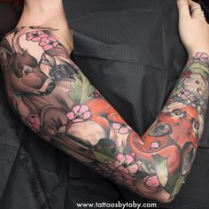 Another angle of Amy's woodland animal sleeve. Would love to get some more sleeves or bigger pieces started! Email tobygawler@gmail.com if you're interested. I have a few concepts I'd love to do!