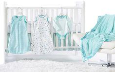 SwaddleDesigns - Turquoise crib set